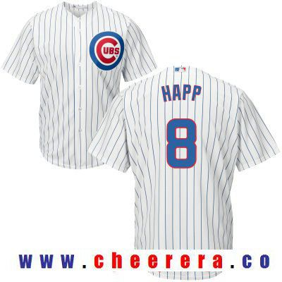 ef17eb132 Men s Chicago Cubs  8 Ian Happ White Home Stitched MLB Majestic Cool Base  Jersey