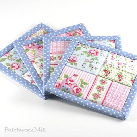 Fabric Coasters, Blue Shabby Cottage Chic Roses, 4 Reversible Patchwork Mini Quilt Candle Mat Set, Pink Flowers Home Decor, Quilted Coasters