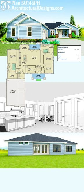 Plan 50145PH Craftsman Ranch with Courtyard Entry Garage House