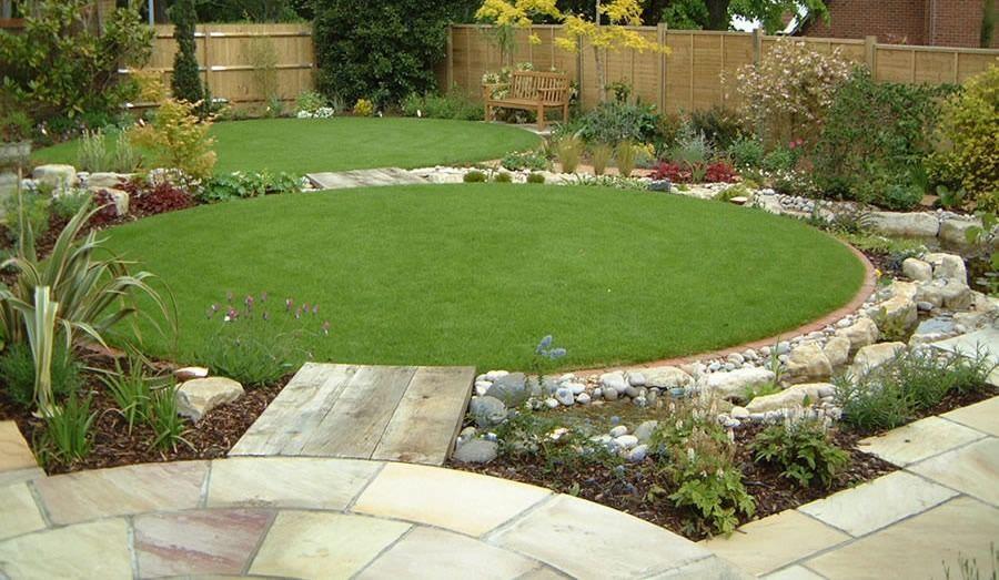 Circular Lawns With Pebbles Circular Garden Design Traditional Garden Design Circular Lawn