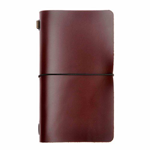 Yellow 4.7 x 8.6 Refillable Leather Notebook Vintage Travel Journal Diary Set by ZLYC for Men Women Travelers Writing Gift with Pen Holder