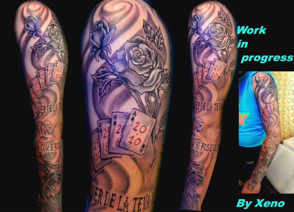 Henna Tattoo Zagreb : Roses and cards sleeve by xeno ink tattoo studio zagreb