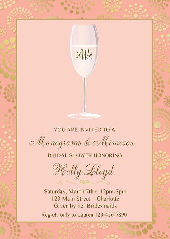 8823d8e5a514 Monogram and mimosas bridal shower invitation - pink and gold bridal ...