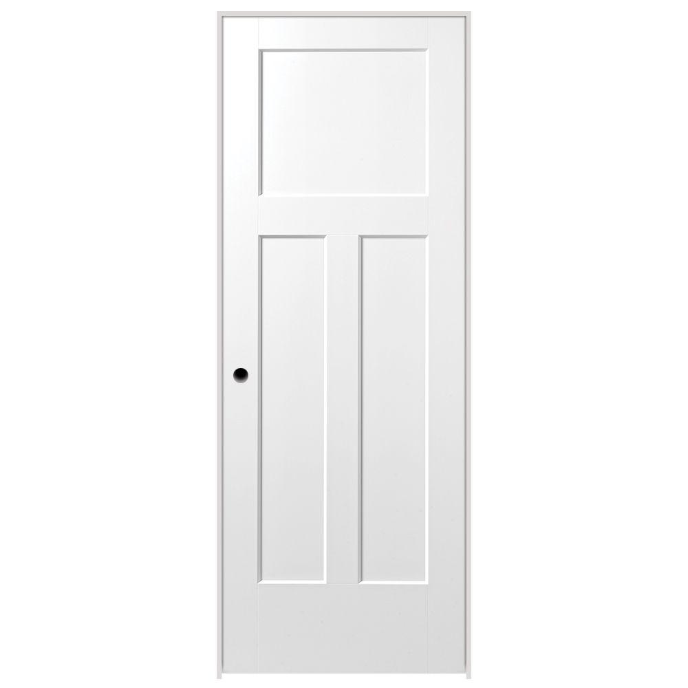 Masonite 30 In X 80 In Winslow 3 Panel Right Handed Solid Core Primed Composite Single P Prehung Interior Doors Doors Interior Modern Masonite Interior Doors