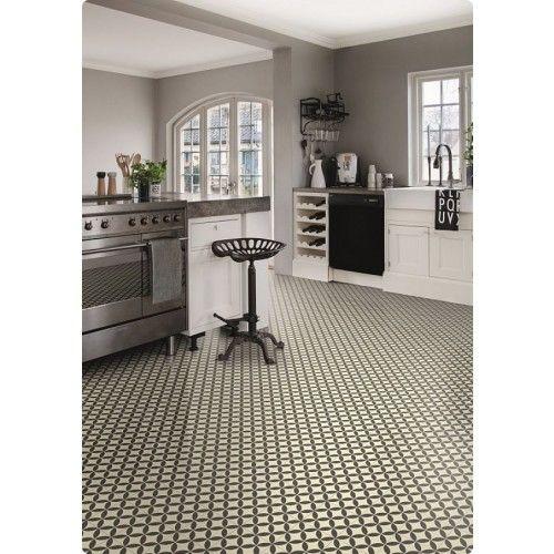 Kitchen with Victorian Ceramic Tile Effect Cushion Vinyl Sheet ...