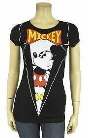 WOMENS JUNIOR SIZE MEDIUM DISNEY MICKEY MOUSE TUXEDO T SHIRT TEE NWT FITTED