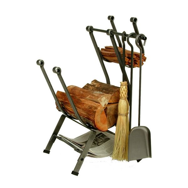 Front Loading Wood Holder with Fireplace Tools | WoodlandDirect ...