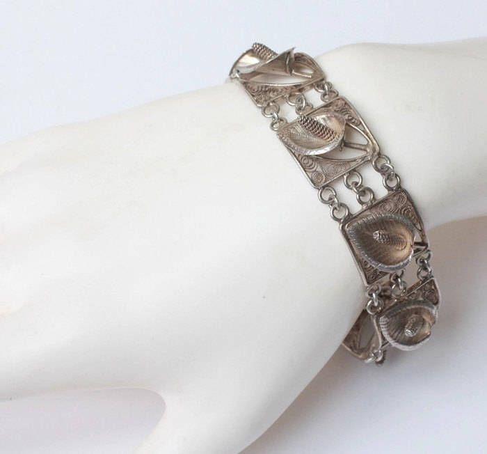 Silver Calla Lily Link Bracelet Fl Design Vintage