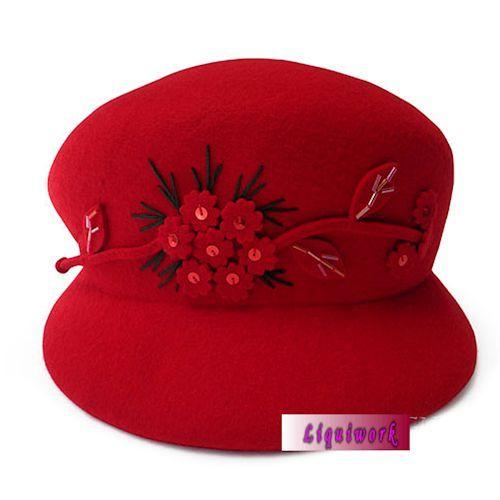 Cute Red Wool Winter Warm Fashion Dress Derby Hats for Women Online  SKU-158266