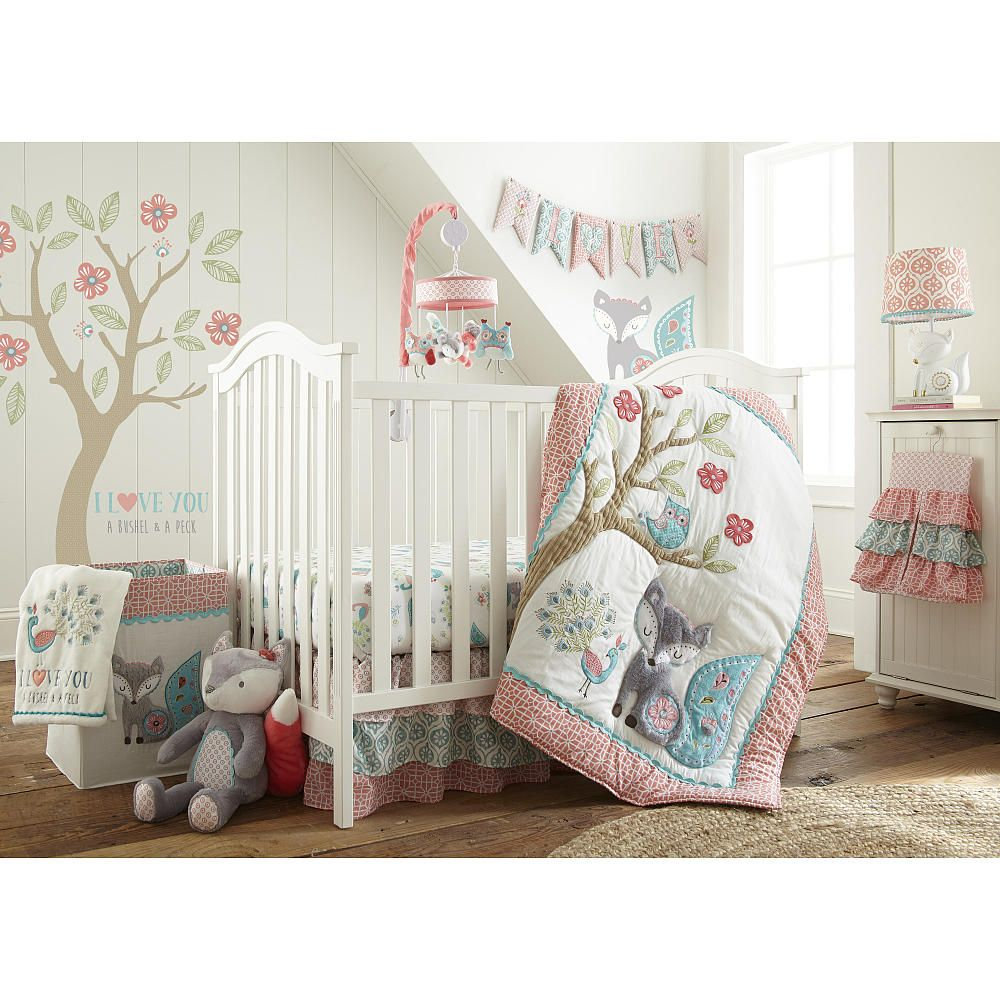 nice Peacock Baby Bedding Sets Part - 12: The Fiona Nursery Collection offers an eclectic mix of patterned fabric in  coral, aqua and teal. The quilt features a detailed tree scene with a fox,  ...