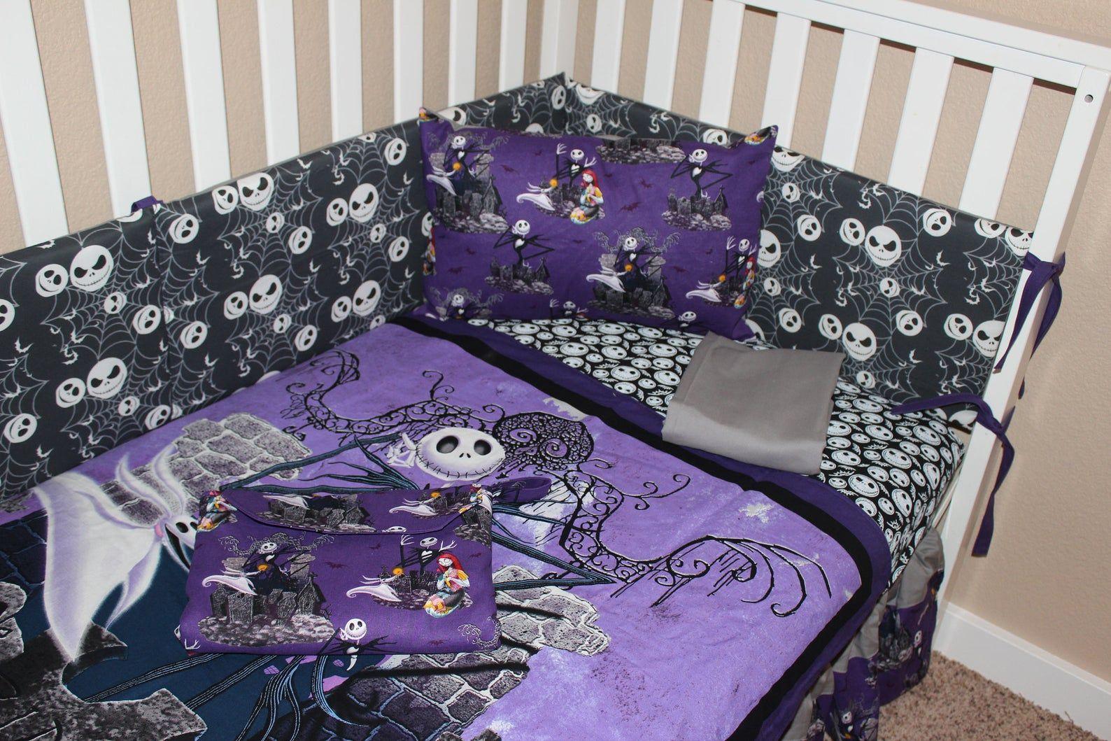 Jack Skellington Crib Baby Bedding Set Nightmare Etsy In 2020 Baby Bedding Sets Baby Crib Bedding Baby Bed