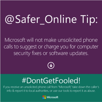 Do we put your online safety a priority? Of course! Do we make unsolicited calls claiming to charge you for it? Never.