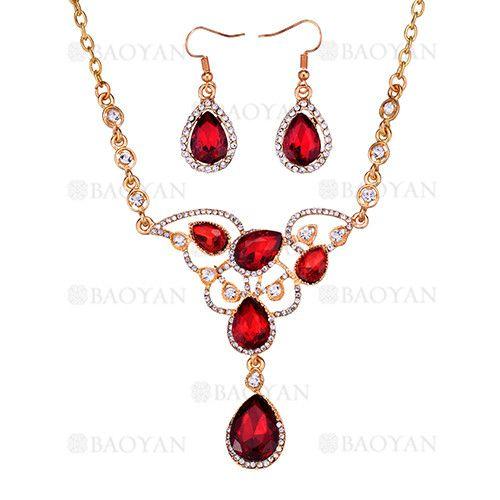 024b6805b44a juego collar y pendientes de fantasia brillante cristal rojo para mujer -  ACNEG106224