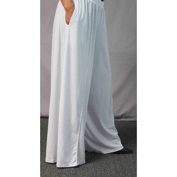 ec616a52d3a Comfy Plus Pants White Pants Plus Size Pants Lagenlook Pants Palazzo...  ( 35) ❤ liked on Polyvore featuring pants