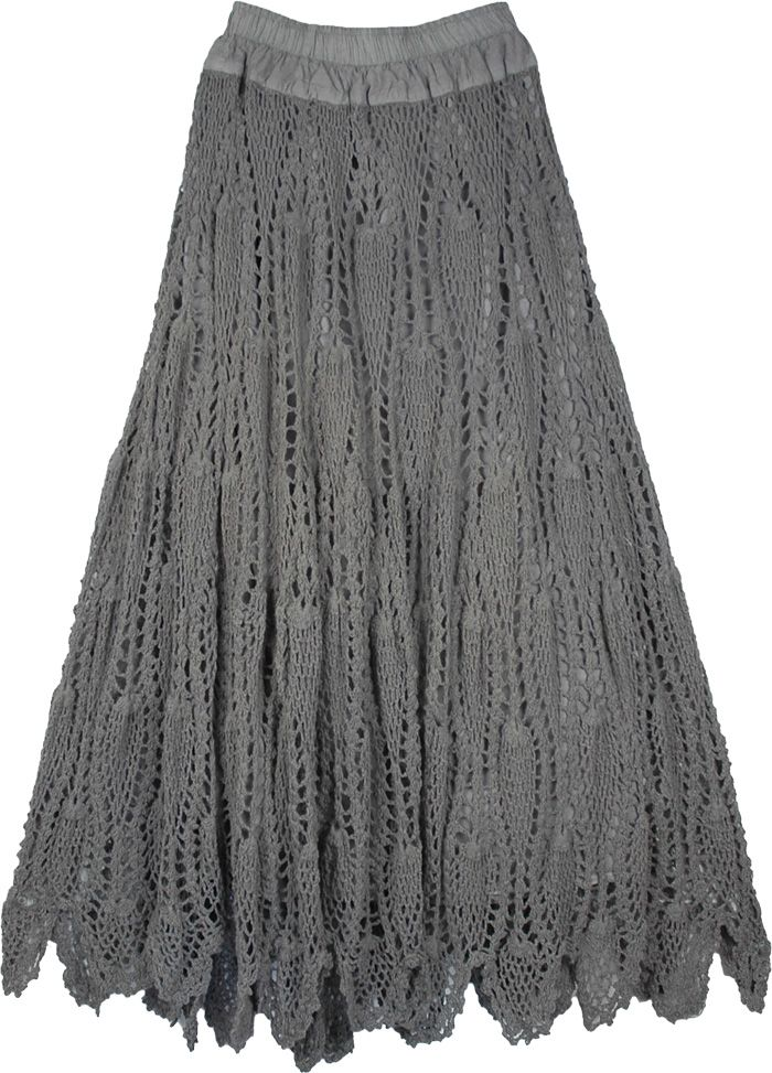 Grey Crocheted Pattern Cotton Long Skirt | Crochet Womens Clothing ...