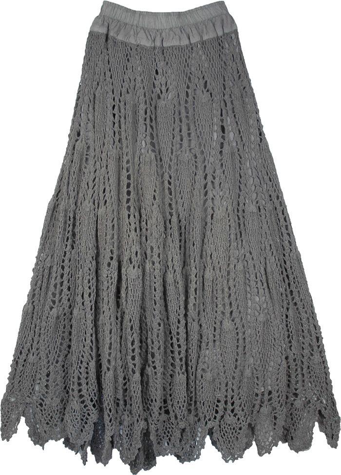 Grey Crocheted Pattern Cotton Long Skirt | Häkeln