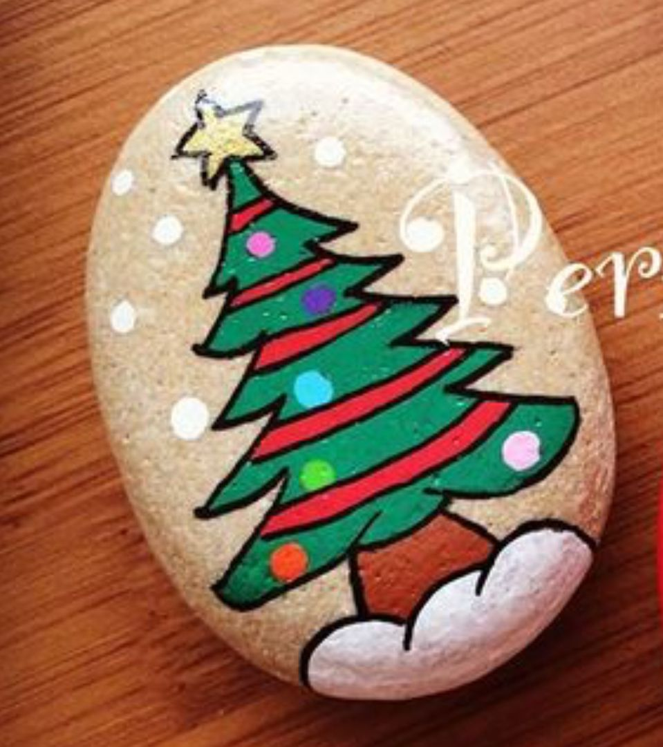cool things to do christmas tree painted rock