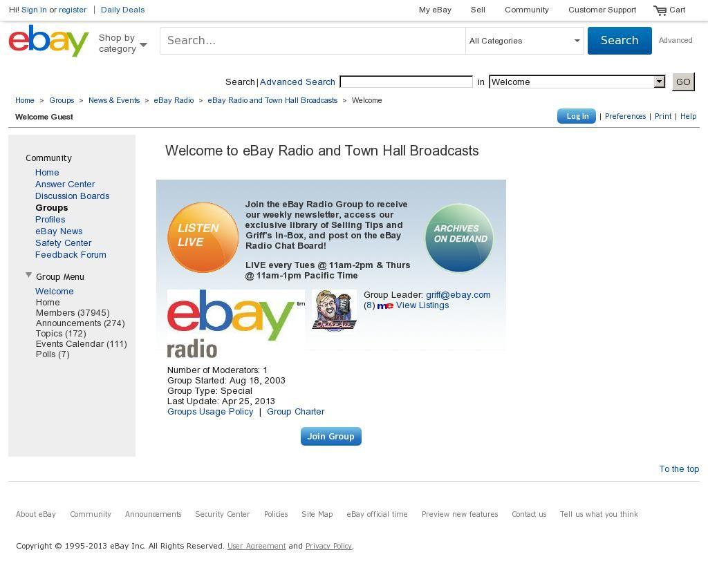 eBay Radio every Tuesday & Thursday - http://groups.ebay.com/forum.jspa?rw=true=1278=1367254107872 courtesy of @Pinstamatic (http://pinstamatic.com)