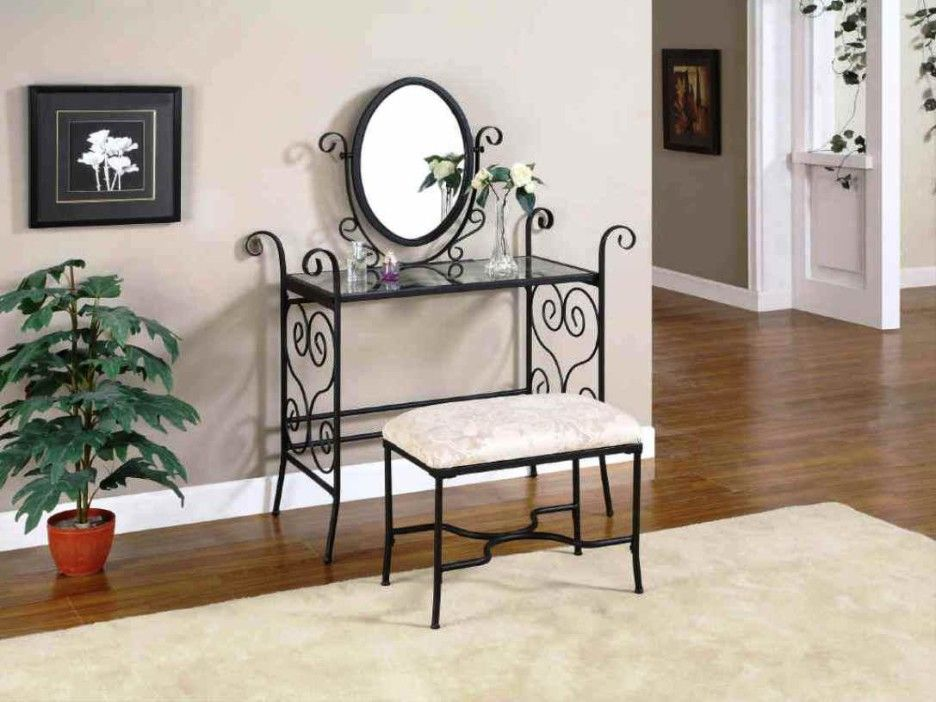 Recommended Vintage Bedroom Vanities : Good Bedroom Furnishing Decoration  Using Black Wrought Iron Vintage Bedroom Vanities
