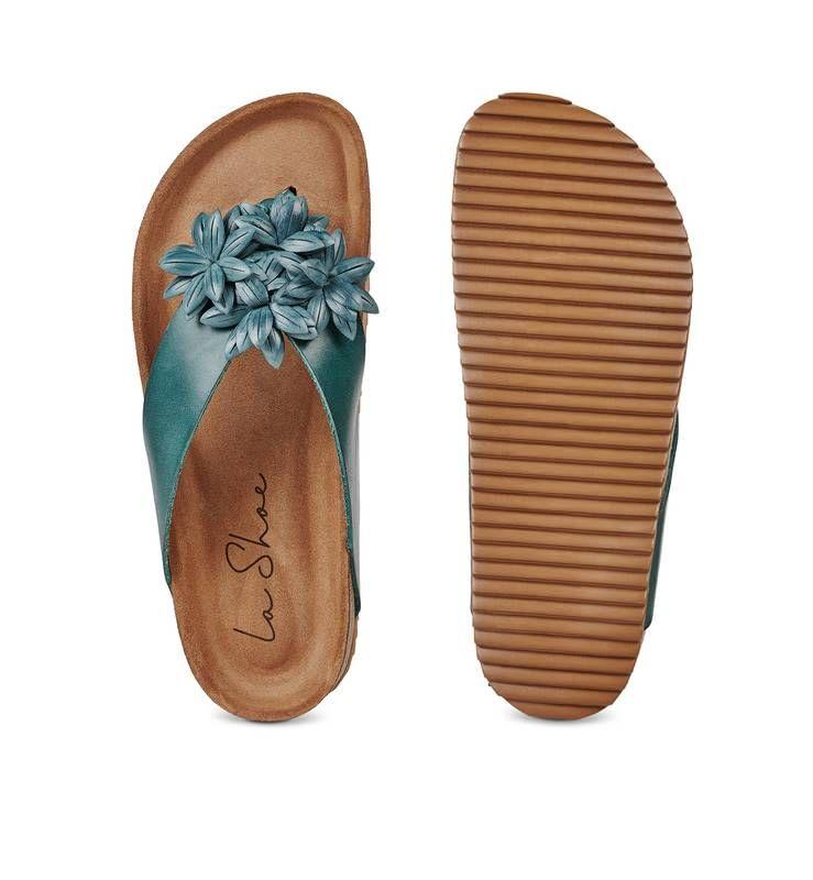– Flop Grünblau und modischer mit Blüten Flip bequemer Schuh Ybf6gI7yv