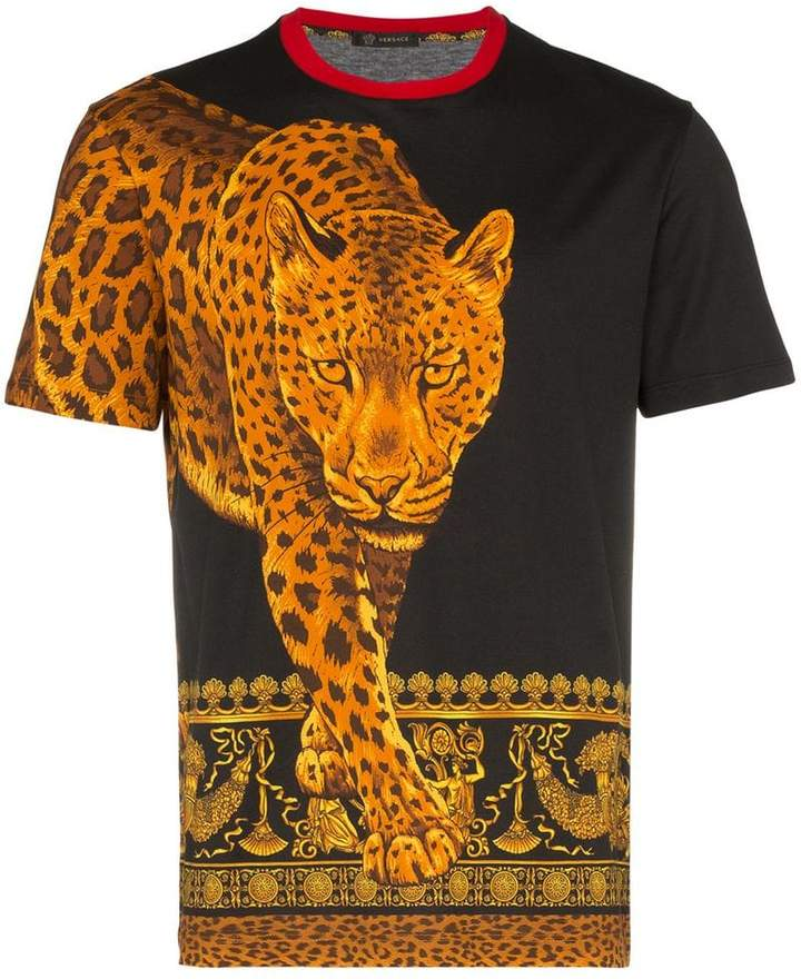 Versace Signature Wild Print Cotton T Shirt Uomini Versace Magliette T Shirt Da Uomo