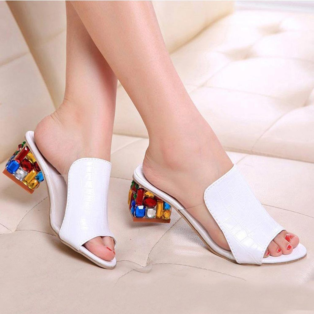 Summerdress Thick Heel Sandalias Open Toe Cut Outs SlipperDating Princess Shoes Loafer Large Size