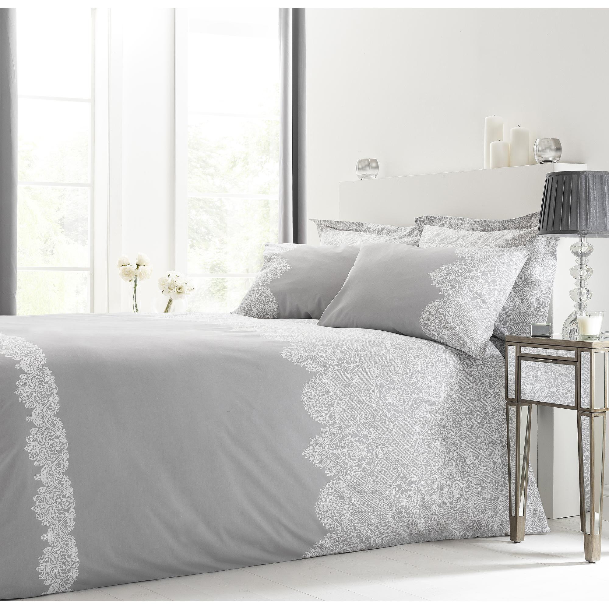 Eleanor Grey Duvet Cover And Pillowcase Set Bedding Curtain