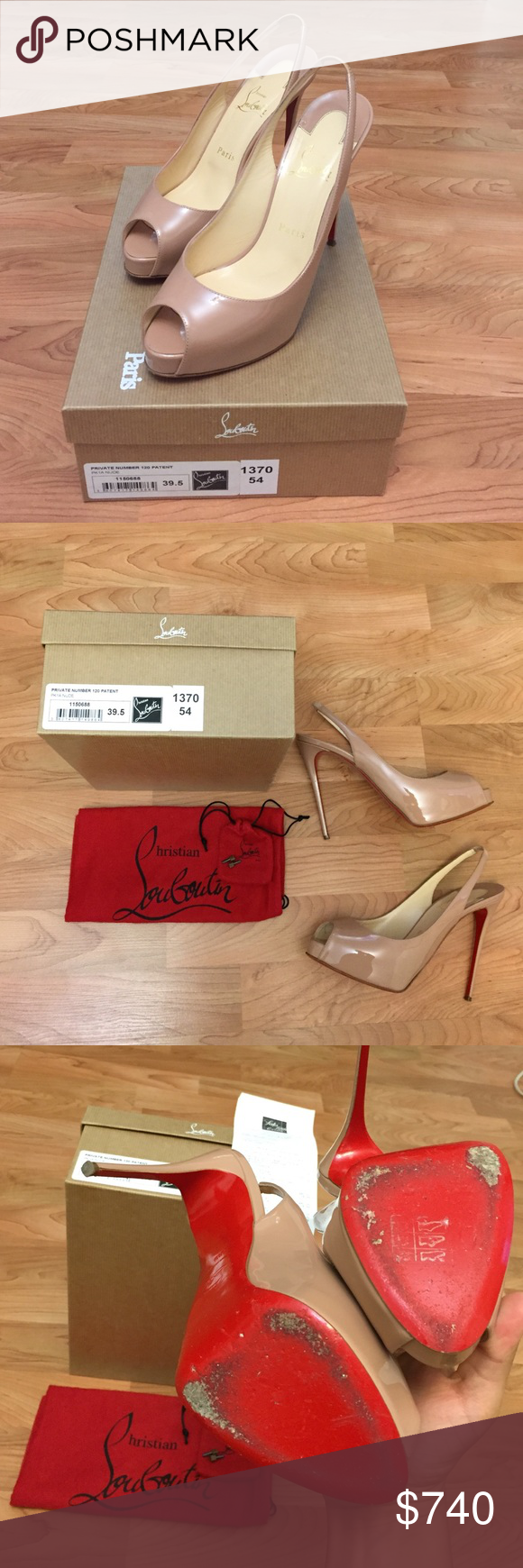 Private number 120 patent nude color Been worn about 2-3 times. No scratches on the shoes. Come as shown, with the original box, dust bag, extra heel taps and the original receipt. Were purchased in April 2016 at Saks Fifth New York $845.00 +tax Christian Louboutin Shoes Platforms