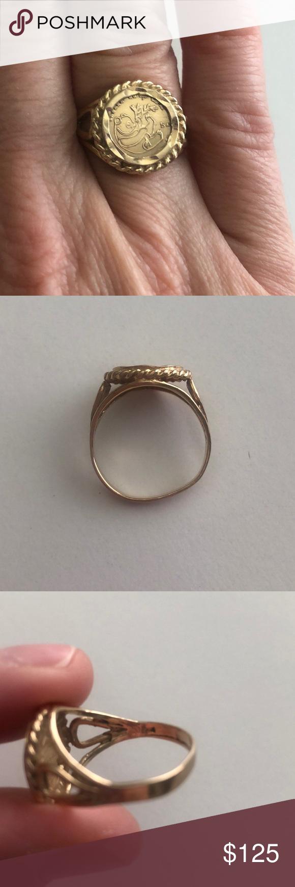 Vintage 10k Gold Panda Coin Copy Ring Womens Jewelry Rings Vintage Jewellery Rings 10k Gold