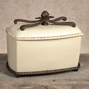 Gg Collection Gracious Goods Ceramic Bread Box With Metal Holder New