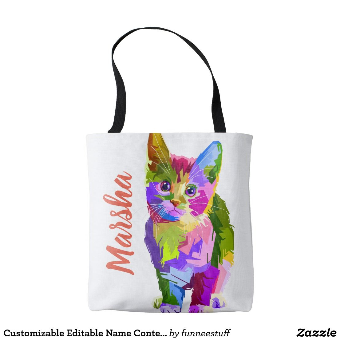 f1fe8d1f5650 Customizable Editable Name Contemporary Artsy Cat Tote Bag