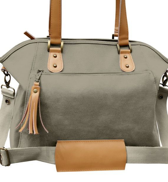 Diaper Bag Taupe Canvas Leather Tote Diaper by TheYellowPacifier