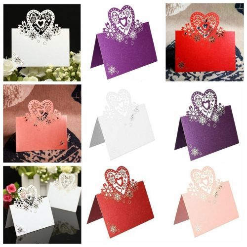 10x carte invitation porte nom coeur marque place papier for Porte nom de table noel