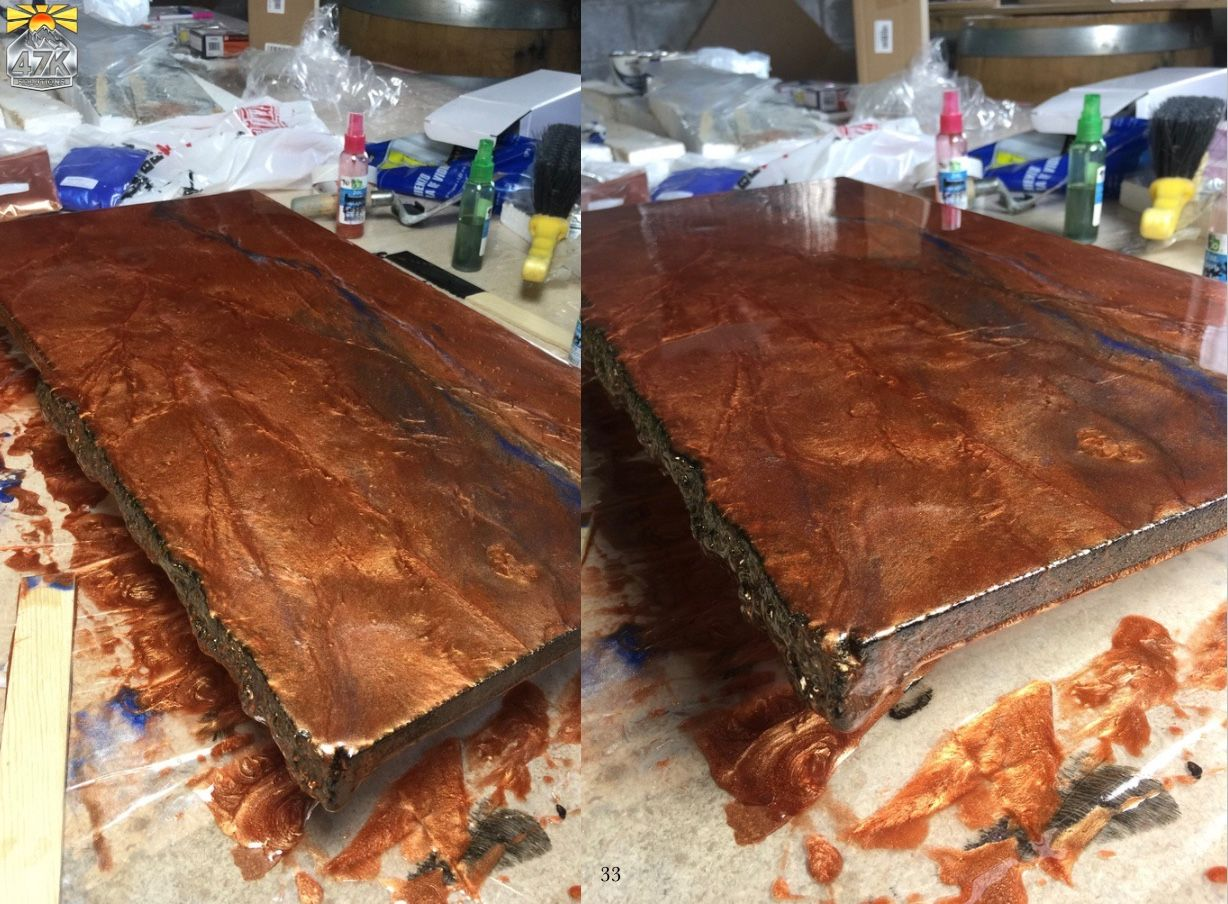 Epoxy Countertops Sample With Copper Veins And Highlights With Chiseled Edge Profile By 47k Solutions Epoxy