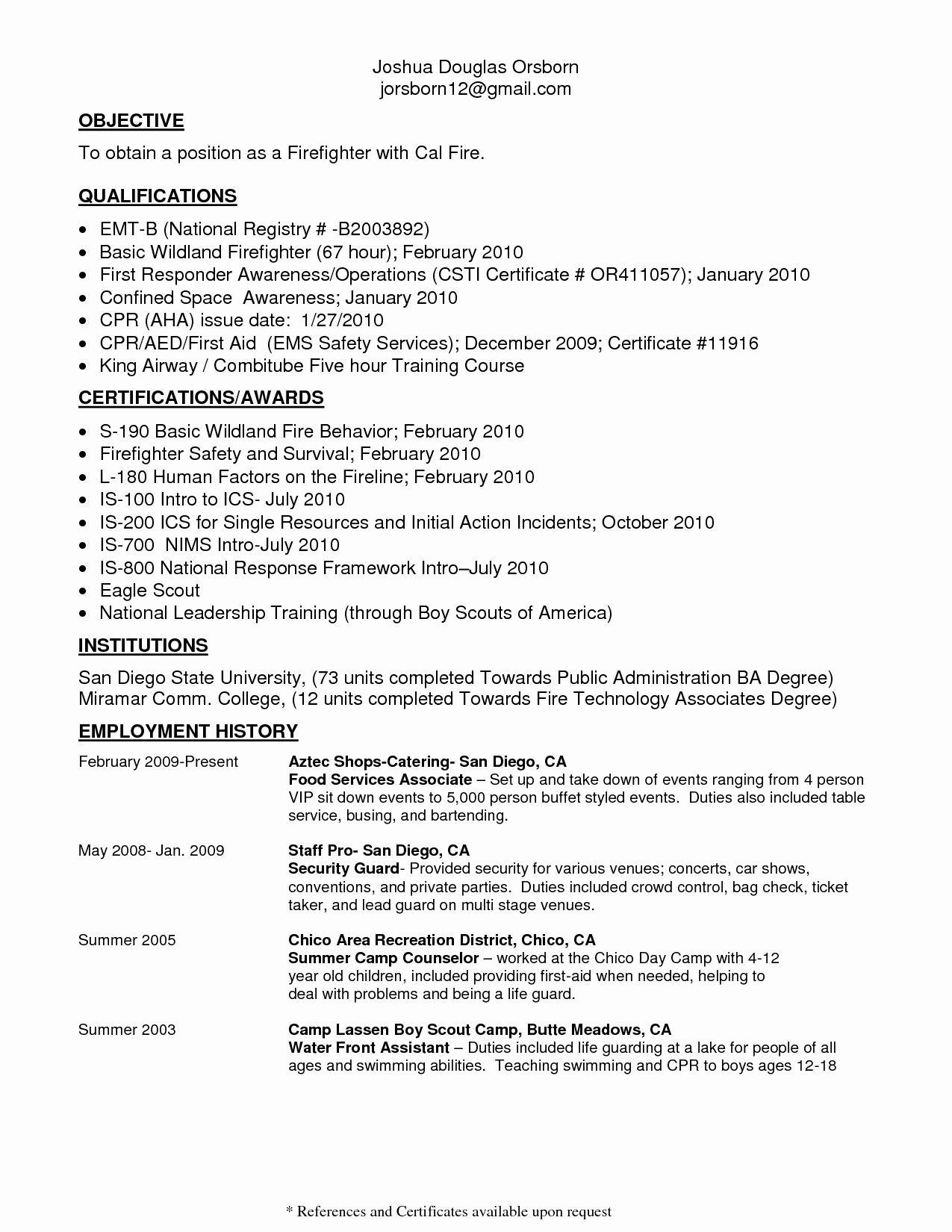 firefighter resume example entry level  karoosha