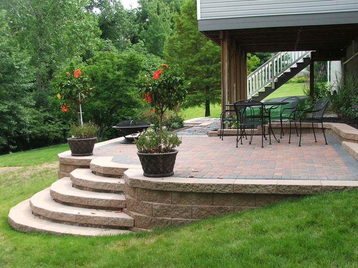 Retaining Wall Patio In 2019 Concrete Patio Flagstone