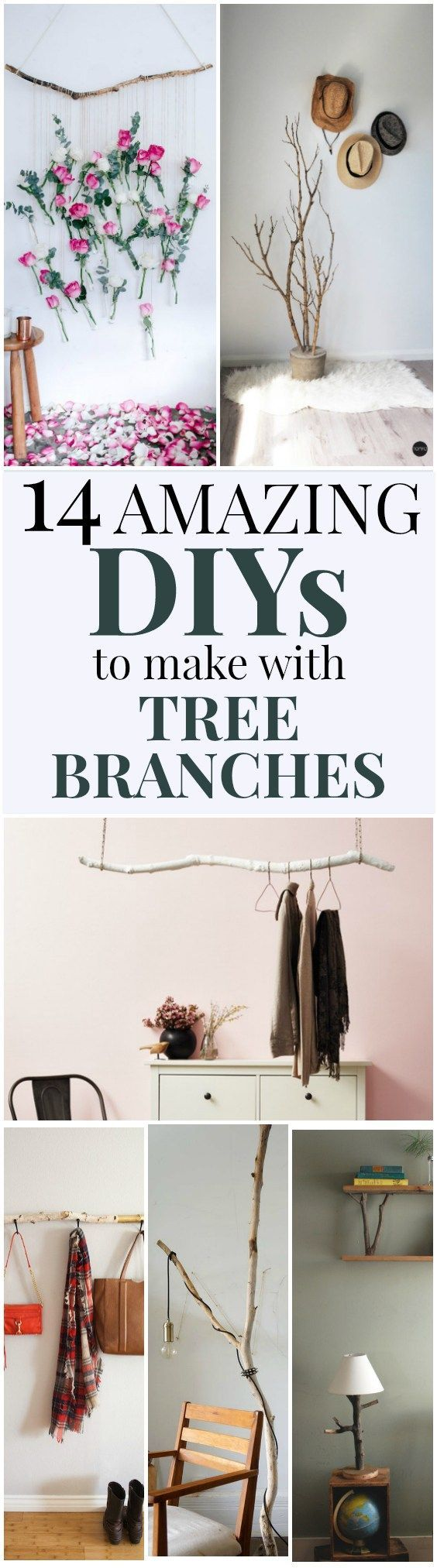 14 Home Decor DIYs to Make with Tree Branches | These DIYs made with repurposed tree branches will bring natural wood into your home decor! Perfect for minimalist and modern home decor styles! #DIY #repurpose #DIYhomedecor