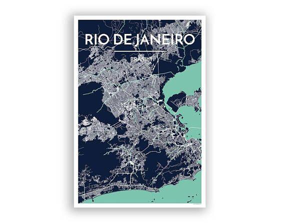 Rio De Janeiro City Map Print Printed Via Color Press On High Quality 13x19