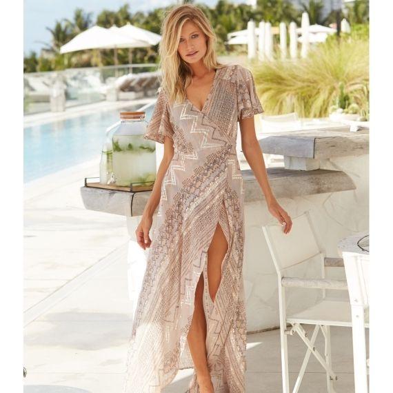 2c83a466a9 Maxi Wrap Dress | Sand/Silver | Maxi Dresses | Dresses, Maxi wrap ...