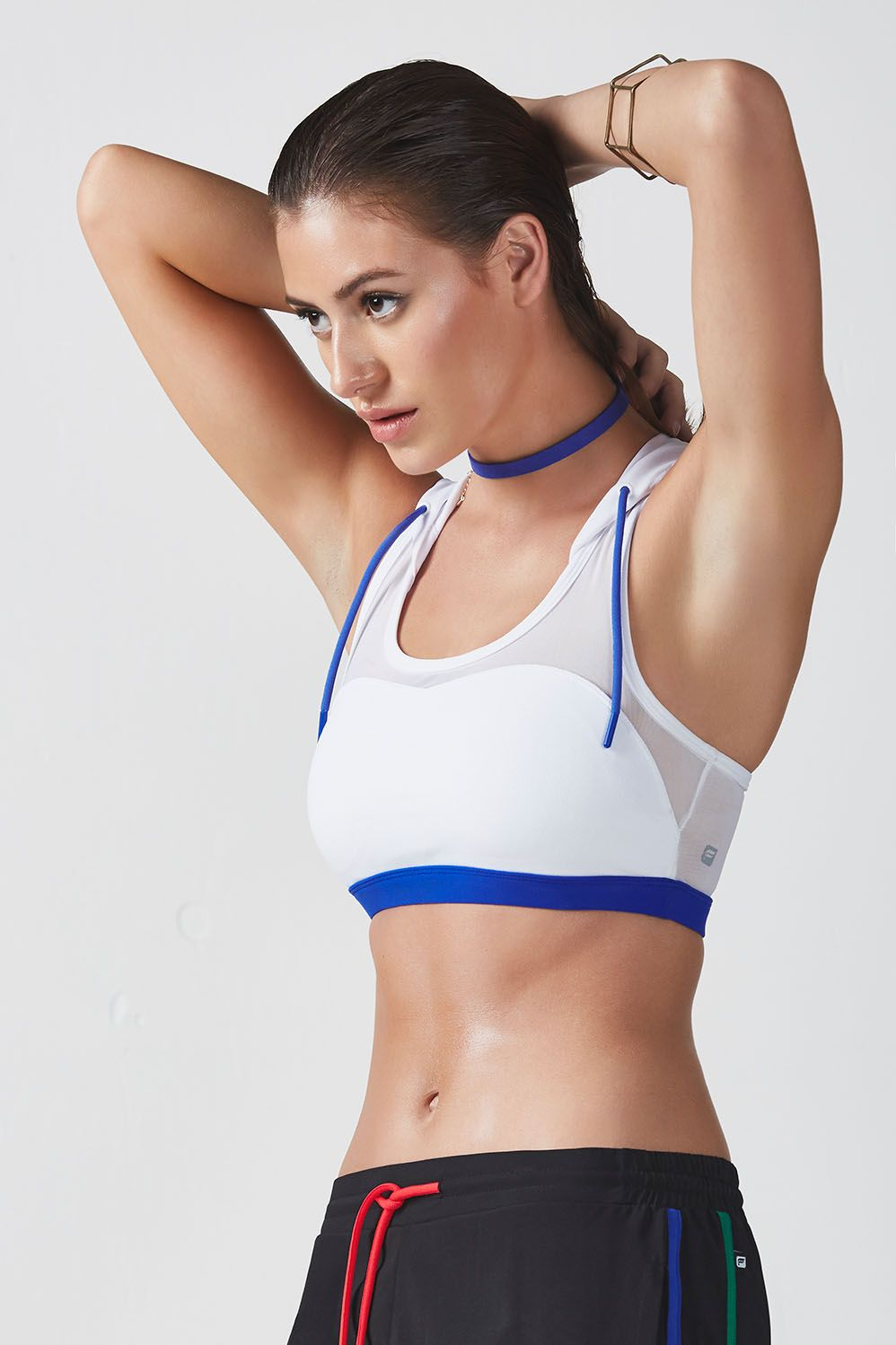 b40773dde2 Dominate the game in our power-mesh sports bra with a cool hoodie. A  sporty