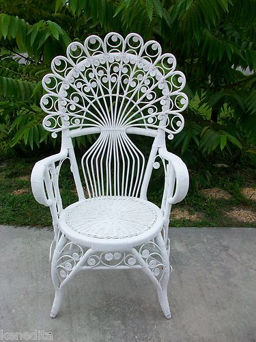 Gorgeous Peacock Wicker Scroll Work Chair Victorian Shabby