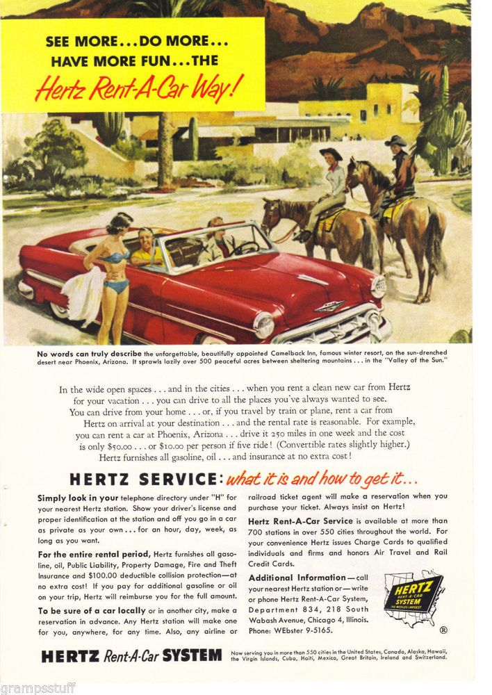 1953 Chevrolet Red Convertible Camelback Inn Phoenix Arizona Hertz ...