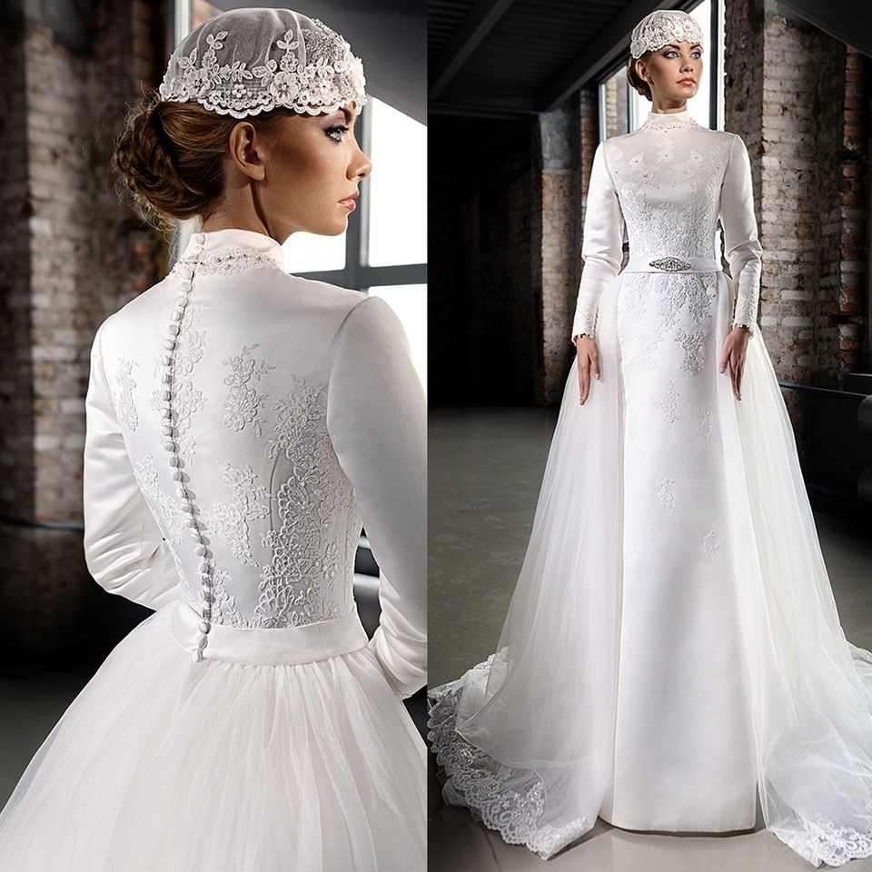 Vintage Satin Hijab Muslim Wedding Dresses Luxury Beaded