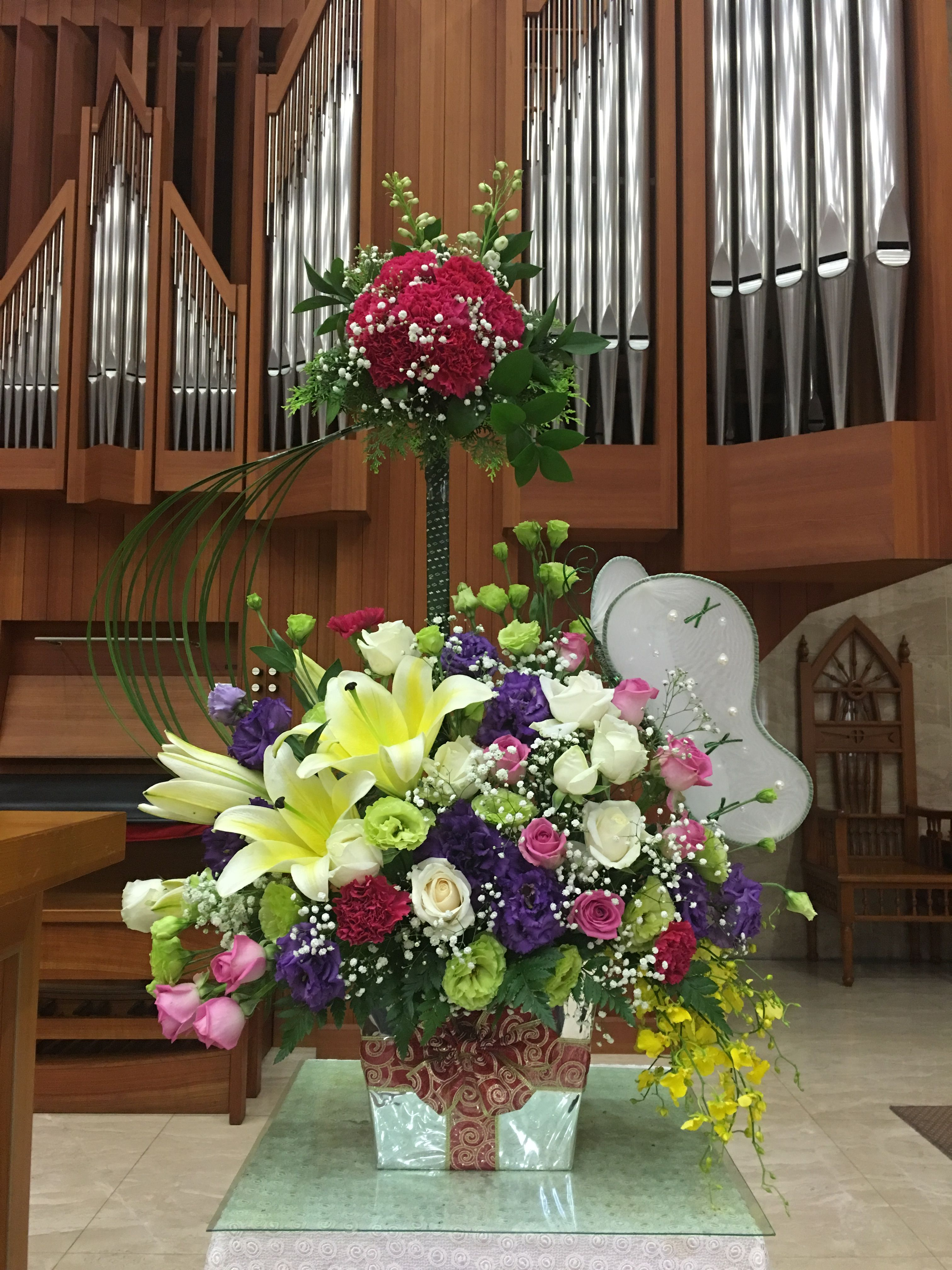 2017.06.04 主日插花 02 Flower arrangements for the church 教会の