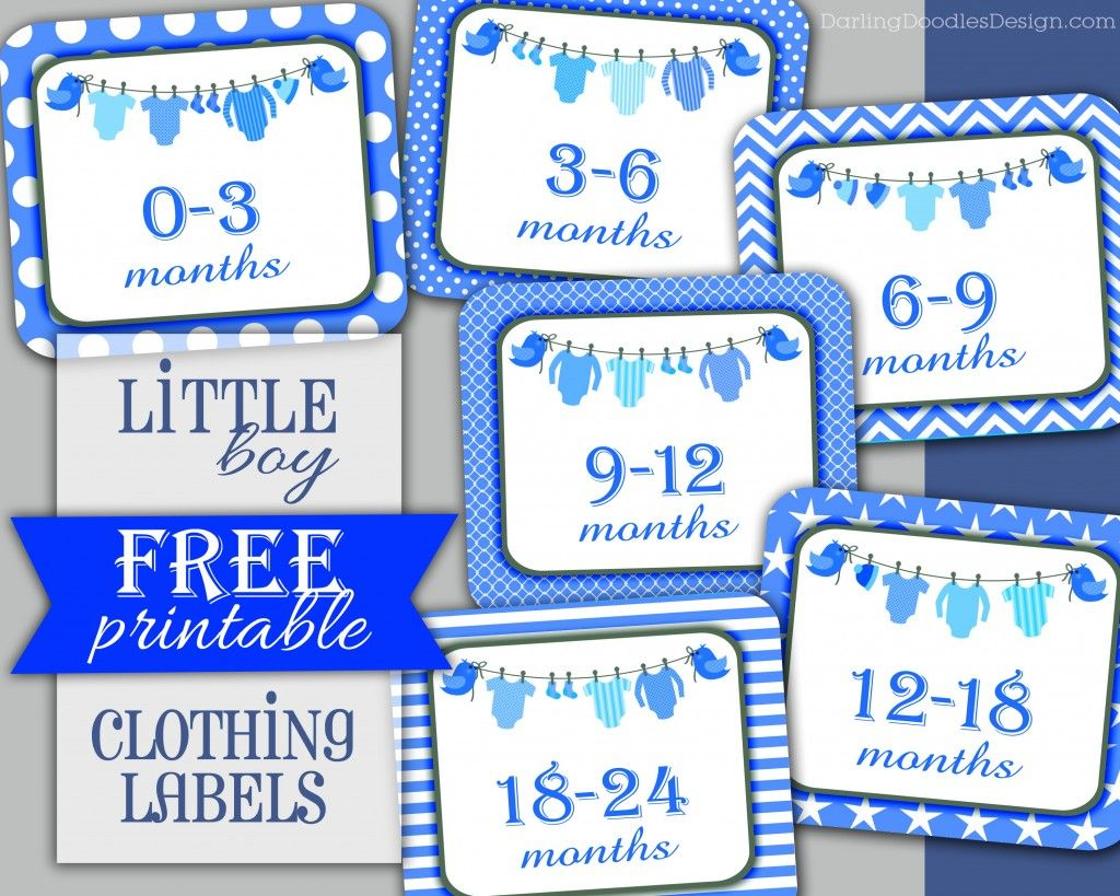 Little boy clothing labels free printable infant through for Baby clothes size organizer