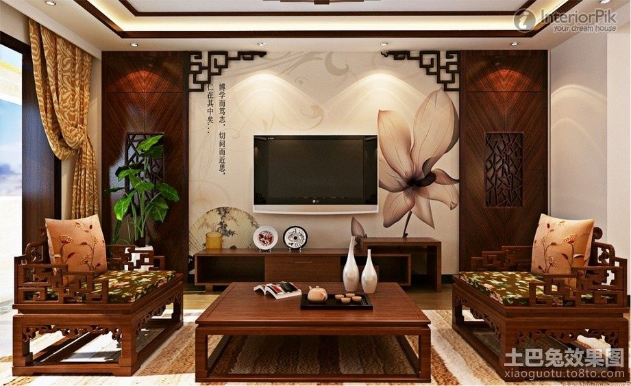 Tv Background Wall Decoration Chinese Style Living Room Effect Chart Greatly Entire 2013 Pictures Living Room Asian Interior Living Room Interior