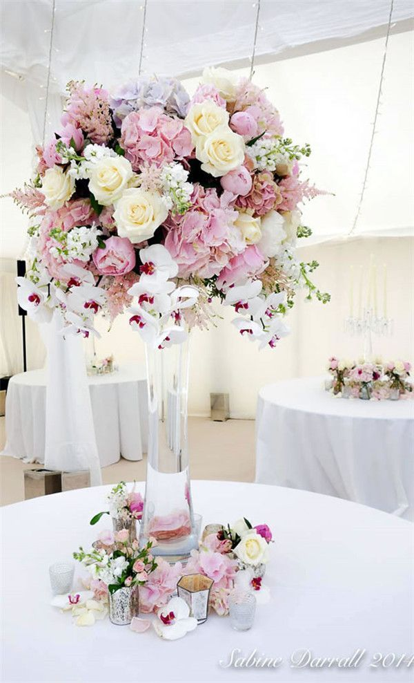 Pastel Fl Tall Centerpieces For A Wedding