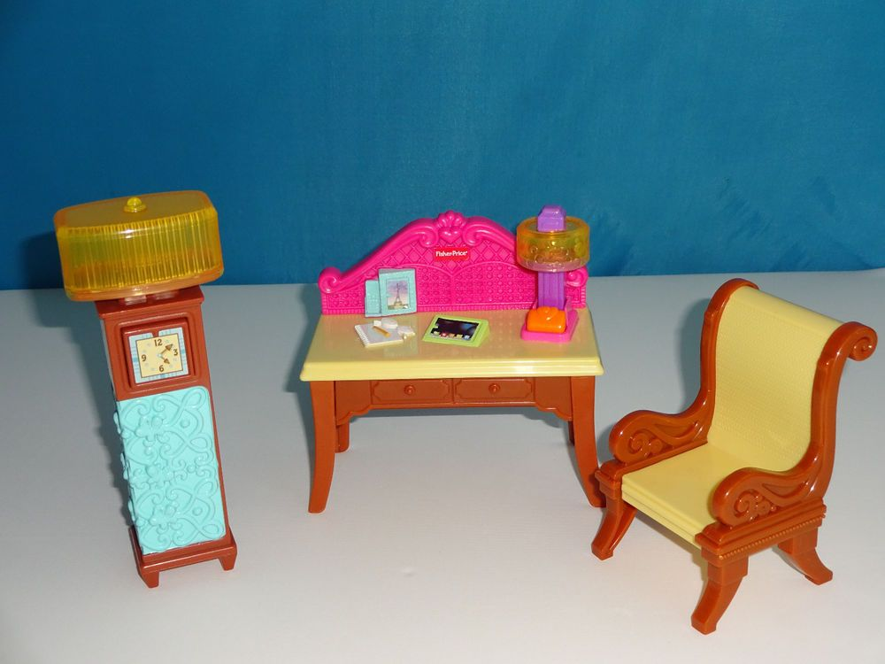 Great Fisher Price Loving Family Dollhouse DESK CHAIR CLOCK OFFICE W/ LIGHT UP  LAMP #FisherPrice