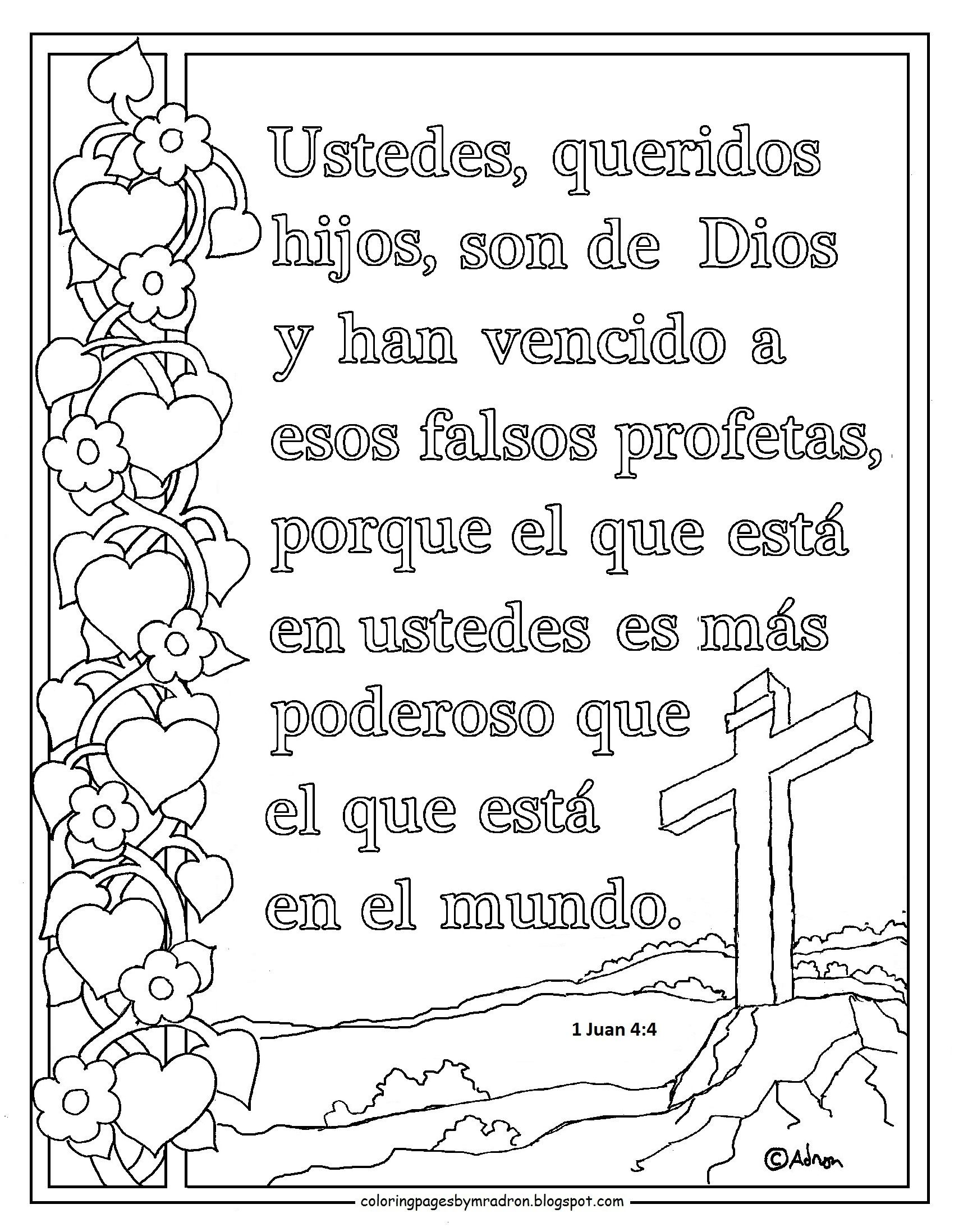 Spanish language print and color page for 1 Juan 4:4 Bible ...