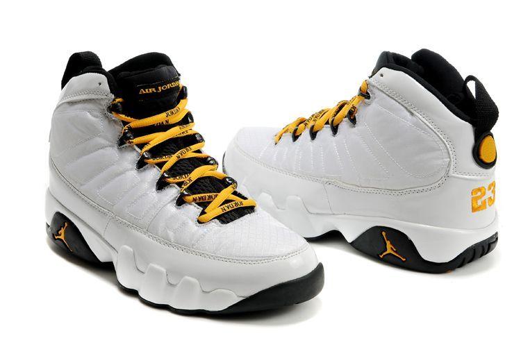 best sneakers 310eb 617de Men s Air Jordan Retro 9 Shoes - White Black Yellow - Click Image to Close
